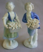 PAIR FINE ANTIQUE DRESDEN FIGURINES BOY, GIRL & BASKET