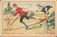 Chromo Calame Rouen chasse chasseur vache cow fusil gun