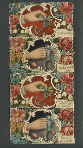 Victorian Scrap Embossed Chromolithograph VALENTINES DAY CARDS Still Joined