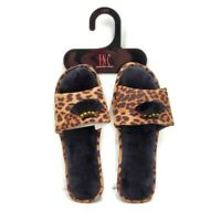 INC International Concepts Womens Sz 9/10 Slippers Brown Leopard Animal Print