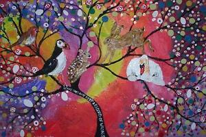 """Greeting card  Tree of life in a rainbow sky Quirky large 5"""" x 7"""" By Casimira"""