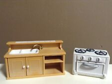 CALICO CRITTERS KITCHEN FURNITURE LOT SINK STOVE SYLVANIAN FAMILIES
