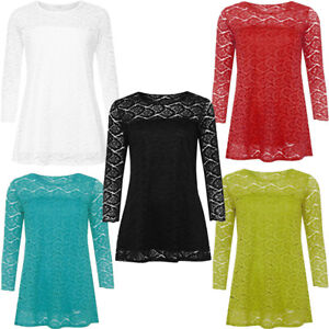 Women's Plus Size Floral Lace Party 3/4 Sleeve Casual Tops Blouse UK Size 14-28