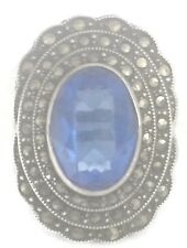 Art Deco Blue Glass Marcasites Vintage Sterling Silver Ring Pinky Size 3.25