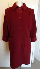 Womens Vintage Aquascutum Red Wool Buttoned Winter Coat Jacket - UK 12