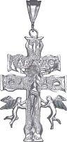 Large Heavy Sterling Silver Caravaca Cross Pendant Necklace. Diamond Cut Finish