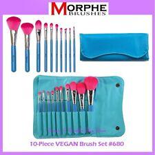 NEW Morphe Brushes 10-Piece VEGAN Brush Set w/Blue Case 680 FREE SHIPPING Travel