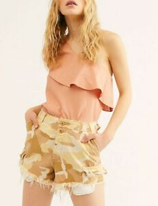 Free People Womens Commander OB960040 Shorts  Desert Storm Multicolour Size US 4
