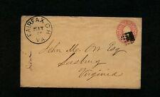 "1870+/- Scott# U58 Type w/SUPER STRIKE of black ""FAIRFAX C H VA."" to Leesburg"