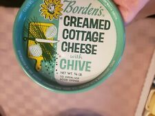New Old Stock Vintage Bordens Creamed Cottage Cheese w/Chives Metal Lid