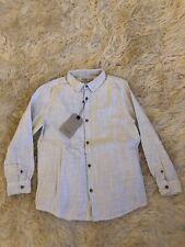 New Zara Boys Light White Grey Melange Bonded 2 Ply Dress Shirt Size 8