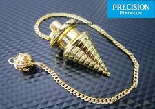 Golden Psychic Wave Solid Metal Precision Pendulum with Chain Dowsing Divination