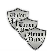 "Union Pride Shield (3 Pack) HardHat Sticker (size: 2"" color: Silver/Black)"