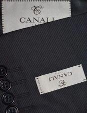 NEW 42R Canali 1934 Current 3 PIECE SUIT Dark Gray Mini Stripe Textured Pants 36