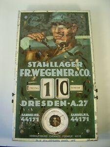 Antiker großer Art deco Dreh Kalender Stahllager Fr.Wegener & Co vor 1945