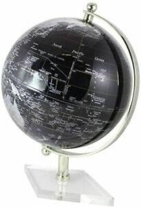 Edler Globus - mit Messing, vernickelt H 20 cm- Fuß transparent- Farbe schwarz