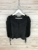 KAREN MILLEN Silk Top - Size UK8 - Black - Great Condition - Women's