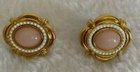 Vintage Clip-On Earrings Victorian Design Gold Tone White Peach Pearl Jewelry