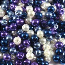 Lot de perles nacrées 4mm Mix Bleu Verre DE Bohème 100g environ 1200 pcs