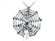Charlotte's Spidey Web Bead Spider Crystal Rhinestones Long Pendant Necklace Ali