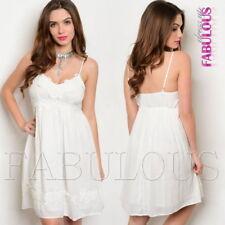New Crochet Trim Summer Babydoll Dress A-Line Party Evening Size 8 10 12 S M L