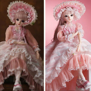 24un 1/3 BJD Doll Girl Handmade Pink Dress Shoes Wigs Makeup Full Set Xmas Gift