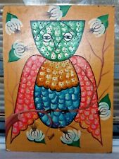 ORIGINAL VINTAGE FOLK HAITIAN ART OIL PAINTING JONAS LUNDY HAITI OWL BIRD 12X16