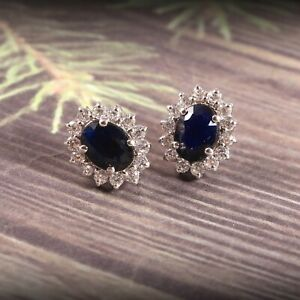 Natural Blue Sapphire Studs Earrings Halo Statement 925 Sterling Silver Handmade