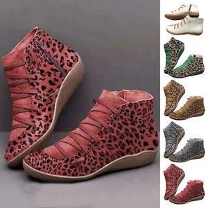 Women's Boots Ankle Boots Side Zipper Shoelace Retro Flat Heel Sneakers Fashion