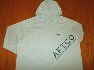 AFTCO LONG SLEEVE BLUE LIGHTWEIGHT FISHING HOODIE MENS XXL EXCELLENT CONDITION
