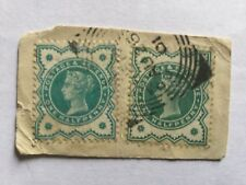 1880 GB Great Britain UK QV 1/2p Green 2/Old Stamp on paper. CV Rm 95++