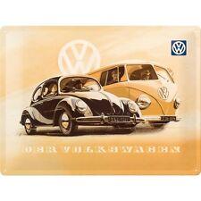 VW Camper Van & Beetle Car Classic Vintage Garage Large 3D Metal Embossed Sign