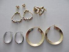 4 Pairs 14K Solid Gold Hoop, Heart, Beaded Earrings Scrap or Wearable 10.1 grams