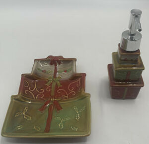 Ceramic Christmas Holiday Presents Hand Lotion Soap Dispenser Tray Green Red