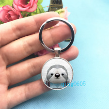 Geometric Sloth Art Photo Tibet Silver Key Ring Glass Cabochon Keychains -466*