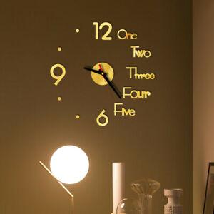 Acrylic Modern DIY Wall Clock 3D Mirror Surface Sticker Home Office Decoration