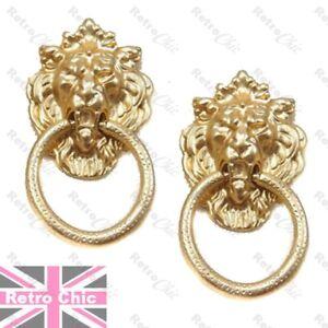 LARGE GOLD TONE DOOR KNOCKER hoop EARRINGS gargoyle LION animal head king HOOPS