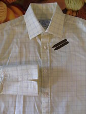 """CHARLES TYRWHITT Men's Lemon Check Formal Shirt 15"""" 38cm D/C with Brass*"""