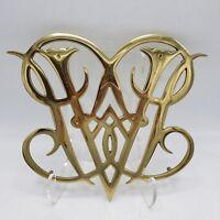"Vintage Williamsburg Brass Queen Ann Cypher Trivet Virginia Metalcrafters ~ 10"""