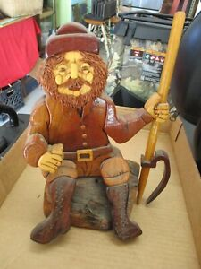 CARVED WOOD LOGGER WOOD CUTTER SIGNED ROBERT PETERSEN FIGURE DECORATION