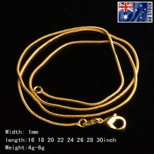 Wholesale 18K Yellow Gold GP 1MM Classic Snake Necklace Chain Mens & Womens Gift