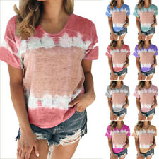 Women Summer Boho Floral Short Sleeve Crew Neck T Shirt Casual Tunic Tops Blouse