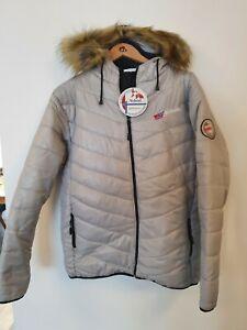 NEBULUS Faux Fur Hood Trim Padded Coat Size L