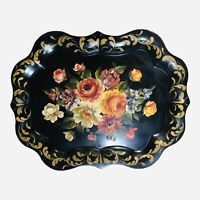 Vintage Hand Painted Floral Toleware Tray Americana 24 x 19 1/3 Black