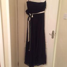 Coast Black Allure Floor Length Maxi Dress 100% Silk Shell Size 12 Ribbon Tie