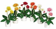 Nearly Natural 4600 Gerber Daisy Decorative Silk Plant with White Vase- Set of 6