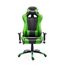 HOMCOM  Poltrona da Ufficio Gaming Reclinabile Girevole Nero-verde Ecopelle