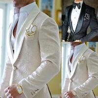 Jacquard Men Suits Shawl Lapel Prom Dinner Groom Wedding Tuxedos Blazer Tailored