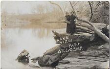 Nelagoney Oklahoma (NE LOG NY in Osage) Indian Camp Lake View RPPC Postcard
