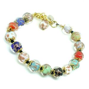 Murano Glass Bracelet Multicolour Gold Handmade Venice 15 Beads Italy